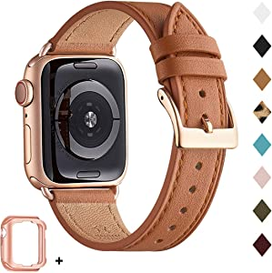 Bestig Band Compatible for Apple Watch 38mm 40mm 42mm 44mm, Genuine Leather Replacement Strap for iWatch Series 6 SE 5 4 3 2 1, Sports & Edition(Brown Band+Rose Gold Adapter 38mm 40mm)