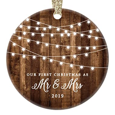 First Christmas as Mr & Mrs Ornament 2019 Rustic 1st Year Married Newlyweds 3  Flat Circle Porcelain Ceramic Ornament w Glossy Glaze, Gold Ribbon & Free Gift Box   OR00300 Delfino