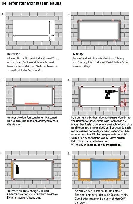 3-fach Verglasung Breite: 80 cm x H/öhe: Alle Gr/ö/ßen Wei/ß Fenster Kunststofffenster Kellerfenster BxH: 80x60 cm DIN Rechts Dreh-Kipp-Funktion Premium