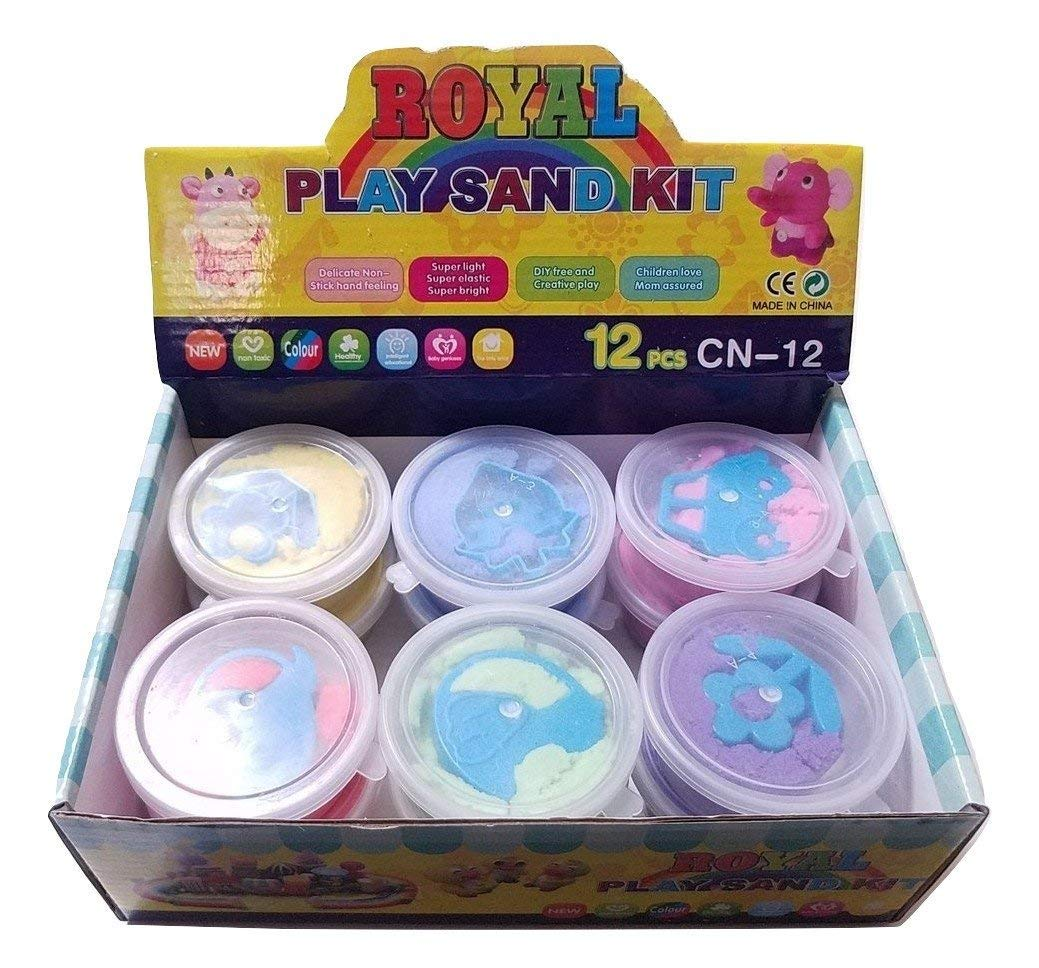 JM Box of 12 Small Space Moon Play Sand with 12 Mode Mold-N-Play Magic Educational Creative Fun Kids DIY Gift Kinetic