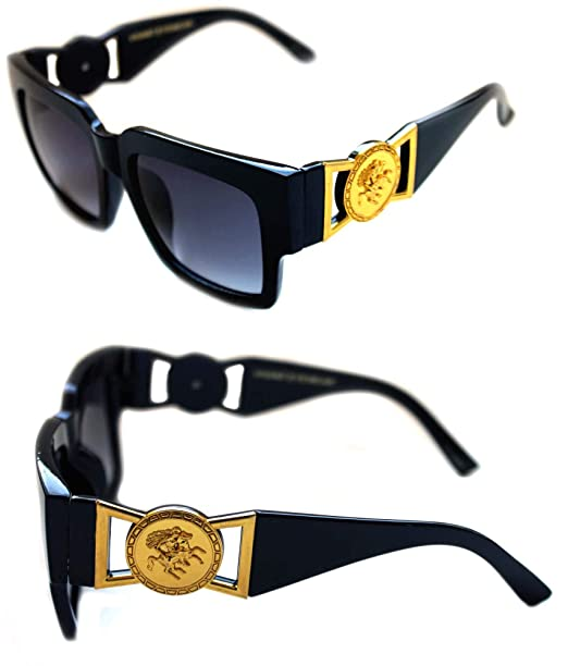 d84324b7207 MEN S LARGE HORN RIMMED GOLD COIN DESIGNER HIP HOP SUNGLASSES VINTAGE 424  RETRO 80 S 90 S (