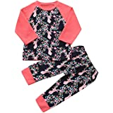 Baby Clothes Set, PPBUY Toddler Girls Deer Floral Printed Tops + Pants 2Pcs Outfit Set (24M, Navy)