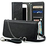 Smartphone Wallet, ENDLER Clutch Purse[Crossbody Strap/Wristlet] Bag PU Leather Pouch Smart Phone Case for iPhone 7 Plus/7, iPhone 6s/6s Plus, Samsung Galaxy S8 Edge/S7/Note,HTC,LG,Google-Black