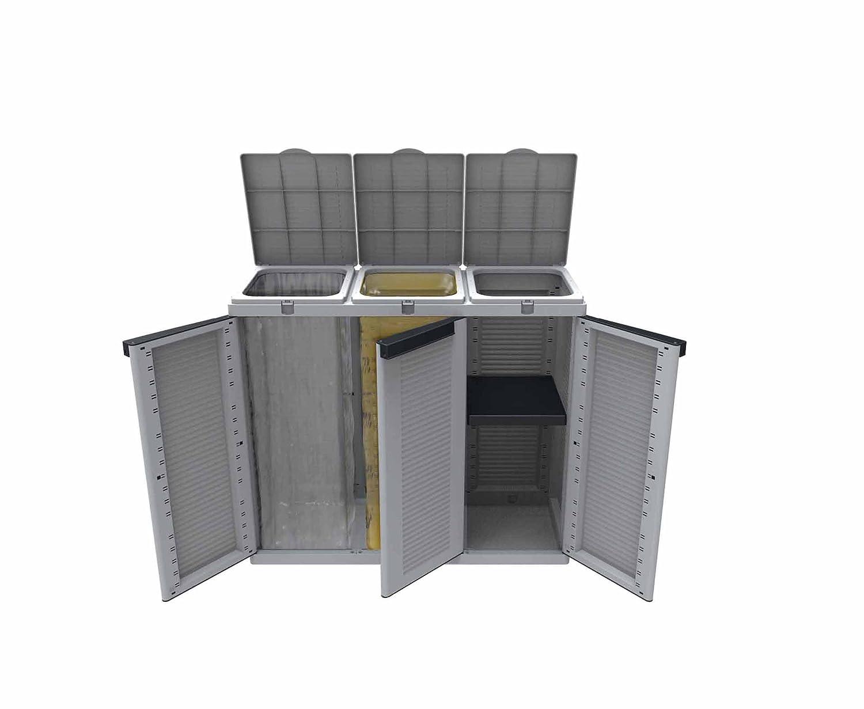 Extra Groß Recycling Einheit mit Deckel und verstellbare Regal 102x 39x 88,7cm–3Türen–Grau/Schwarz