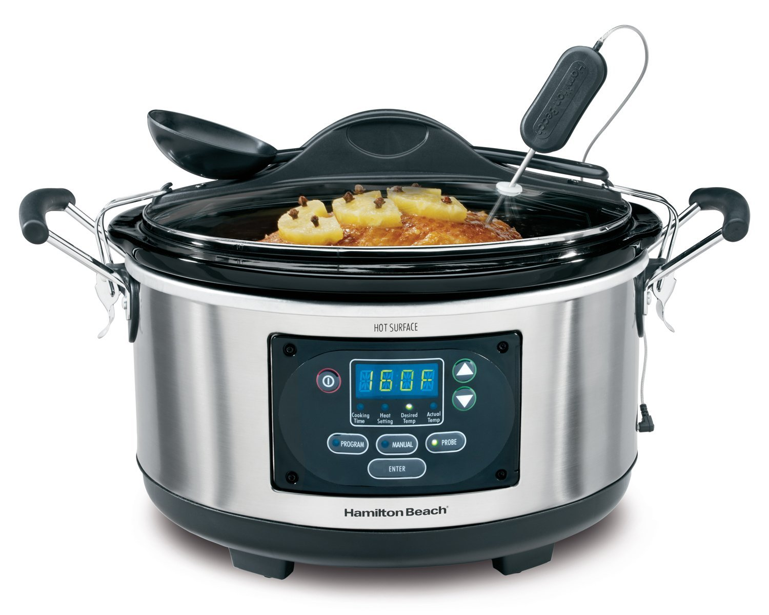 Hamilton Beach (33967A) Slow Cooker With Temperature Probe, 6 Quart, Programmable, Stainless Steel (Certified Refurbished)