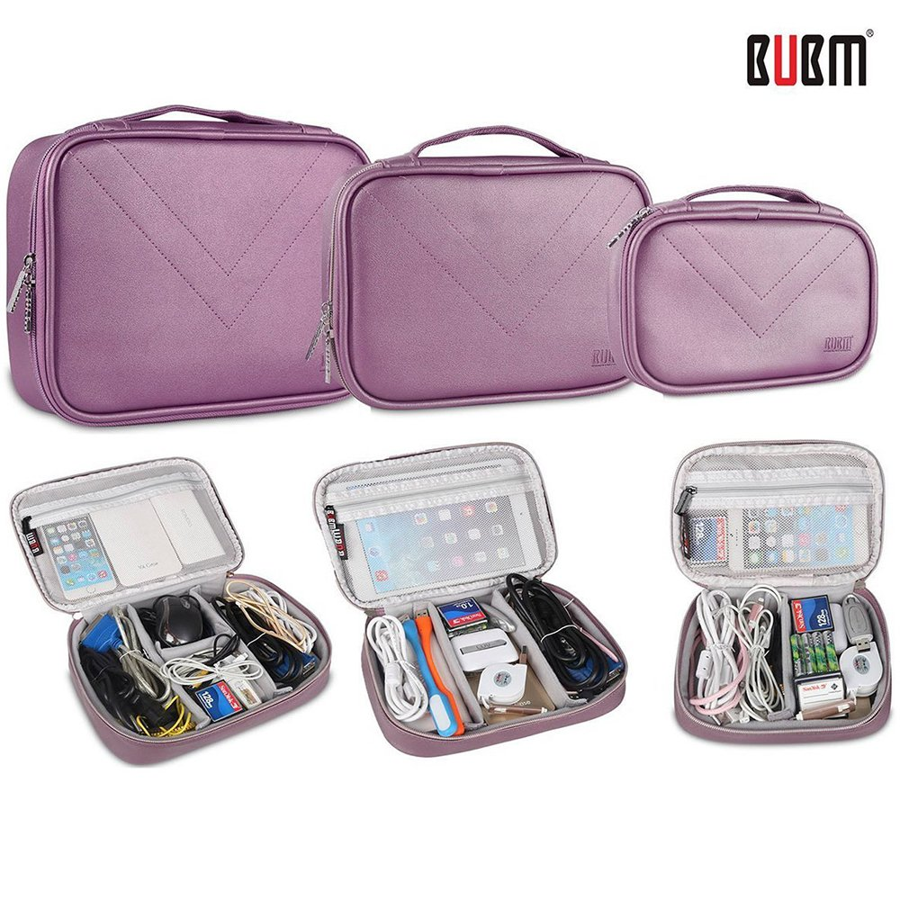 BUBM 3pcs Set Electronic Organizer, Travel Gear Bag for Cables Cords, Mouse, Memory Card, Power Bank and iPad (Purple,L/M/S) by BUBM