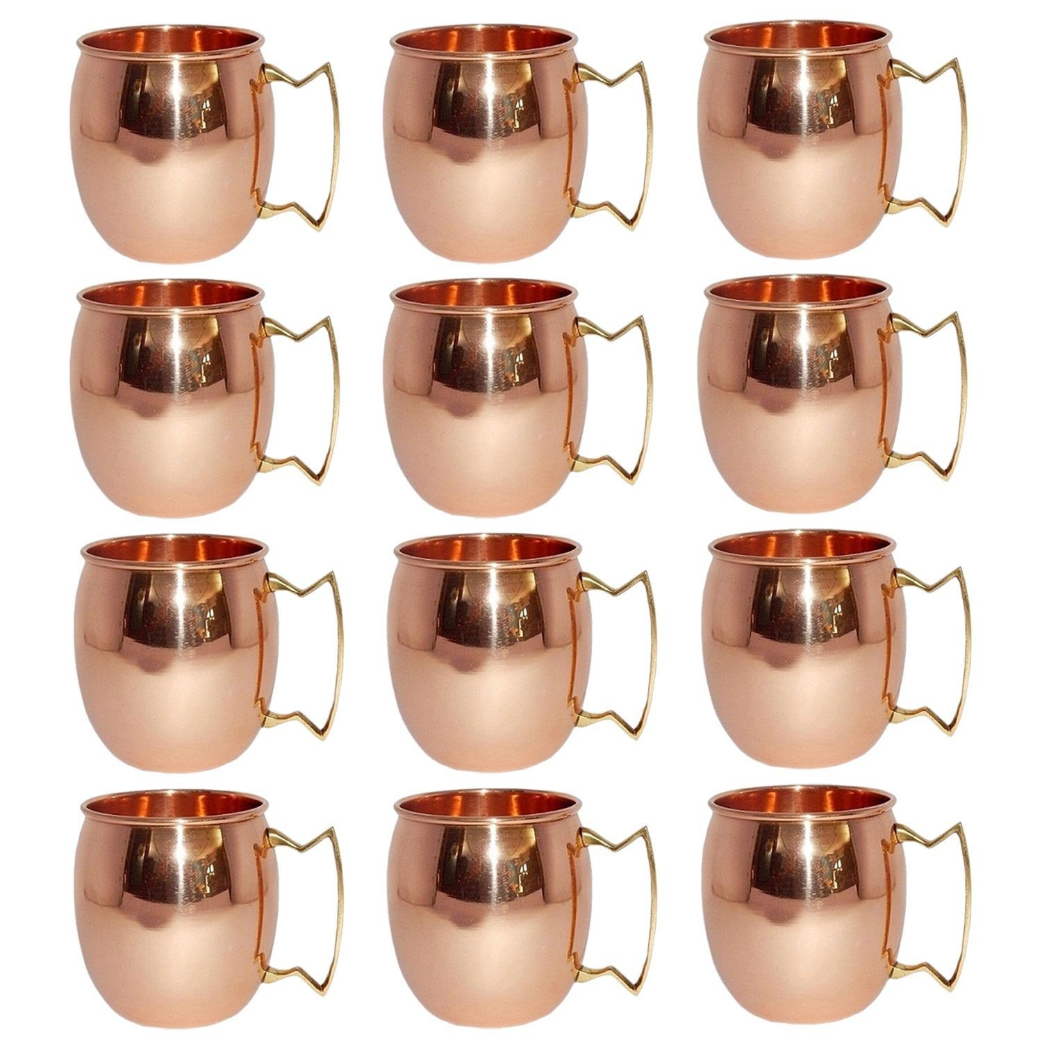 Pack of 12,Solid Copper Mug for Moscow Mules 550 ML / 18 oz 100% Pure Copper Best Quality Lacquered Finish Mule Cup, Moscow Mule Cocktail Cup, Copper Mugs, Cocktail Mugs
