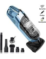 SUMGOTT Aspirador de Coche Aspiradora de Mano Portátil 5.5KPa Aspirador Potente,Cabeza de Cepillo electrico y Accesorios Múltiples, Ideal para Pelo de Mascota