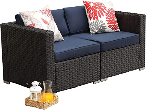 MFSTUDIO 2 Piece Patio Loveseat Outdoor Sectional Furniture Rattan Corner Sofa Set