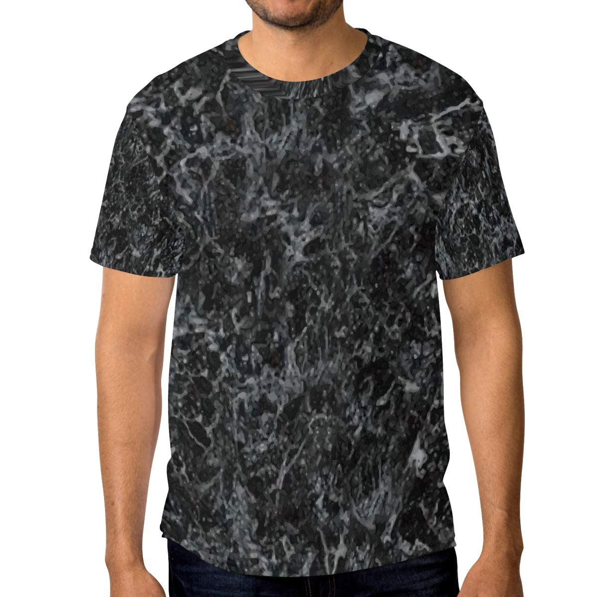 Horatiood Huberyyd Black Chaotic Marble Pattern Mens T Shirts Graphic Funny Body Print Short T-Shirt Unisex Pullover Blouse