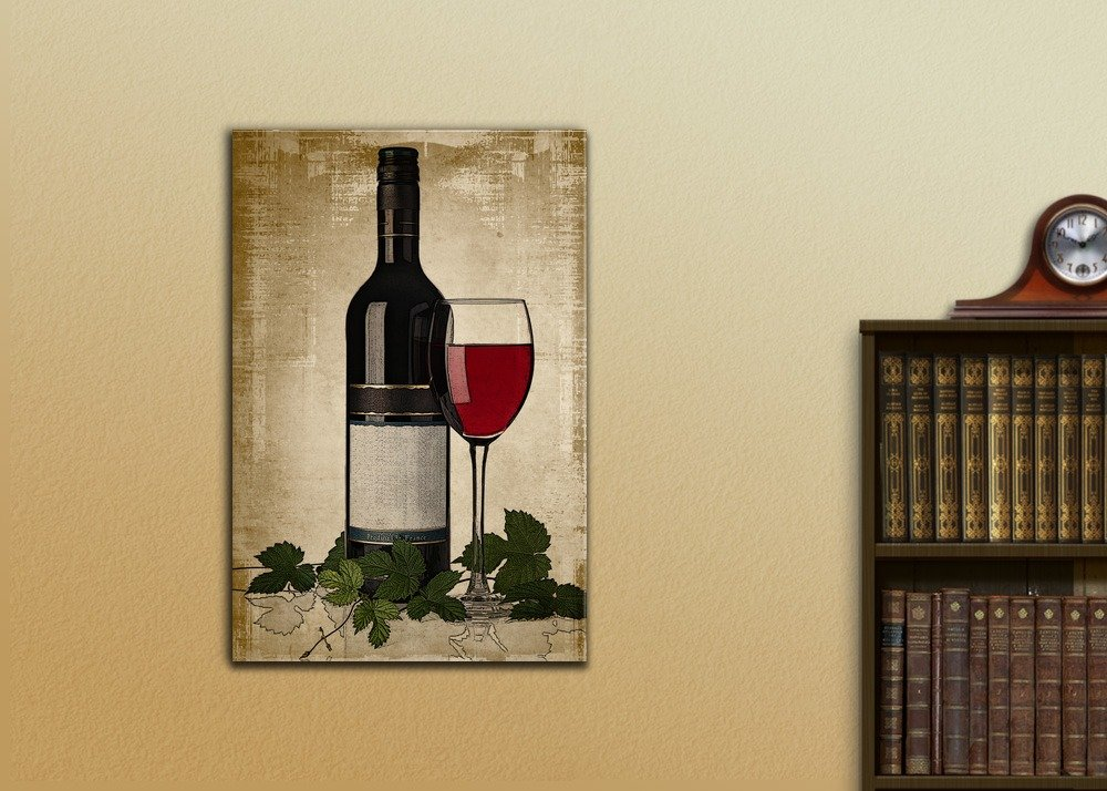 wall26 - Canvas Wall Art - Red Wine Bottle and Glass on Vintage ...