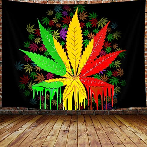 Marijuana Leaf Tapestry, Weed Psychedelic Tapestry Wall Hanging for Bedroom, Reggae Rasta Tie Dye Jamaica Tapestry Trippy Rastafarian Mexico Red Yellow Green Home Decor 90 W X 70 H