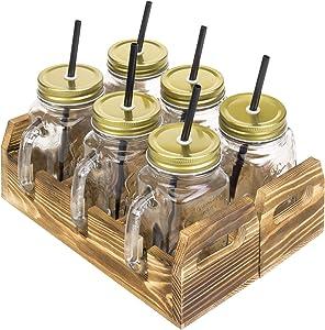 MyGift 16 oz 3-Glass Mason Jar Mug Glasses with Handles, Lids & Straws in Brown Burnt Wood Serving Tray, Set of 2