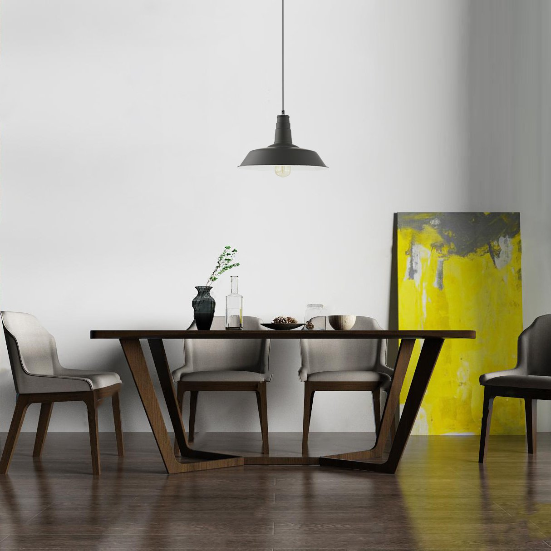 Light Society Kress Pendant Light, Matte Black Shade with White Interior, Vintage Modern Industrial Farmhouse Lighting Fixture (LS-C199-BLK) by Light Society (Image #6)