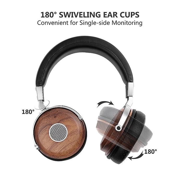 SIVGA Wood Open Back Auriculares con auriculares con micrófono y control de volumen, auriculares de madera de alta fidelidad con cómodo cojín de oído y ...