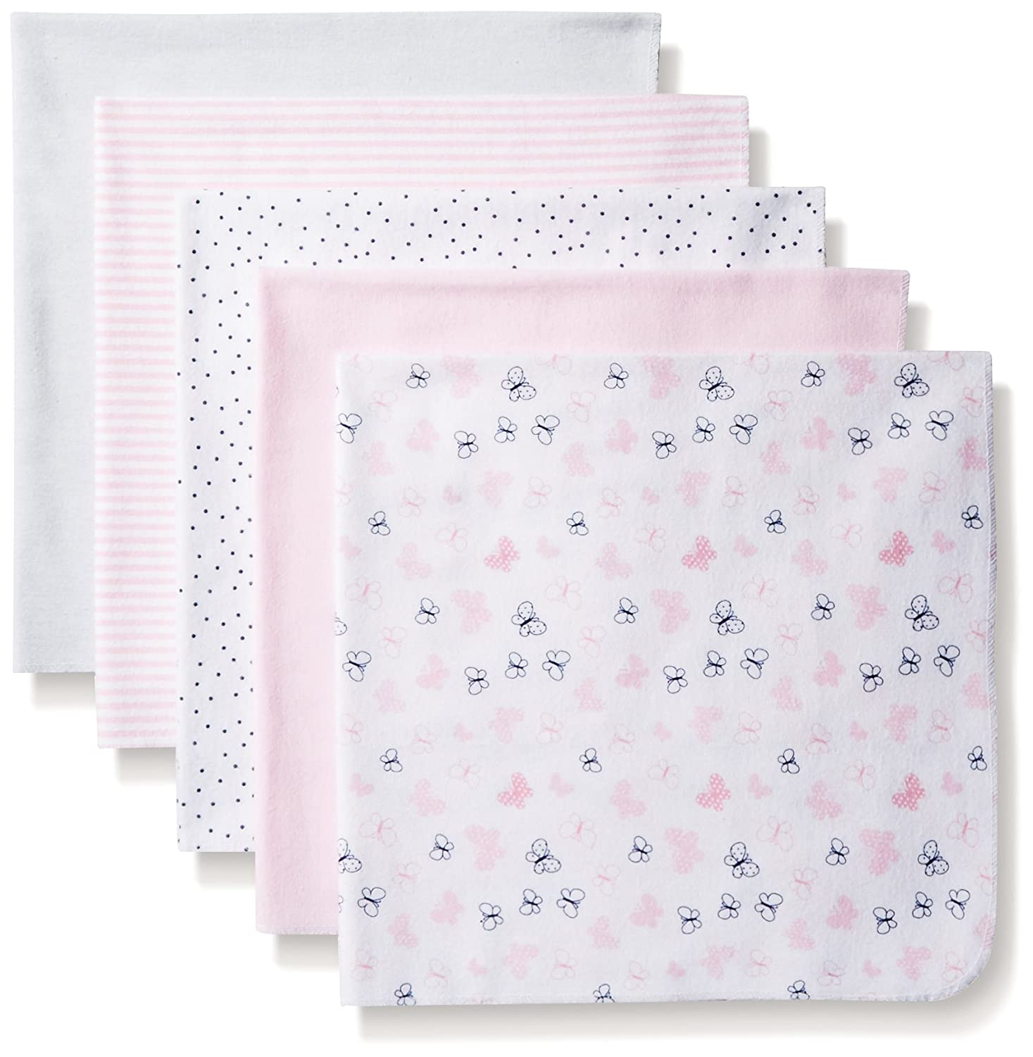 BON BEBE Baby Butterfly Assorted 5 Pack Receiving Blankets, Pink Hearts/Butterflies, New Born BM401G
