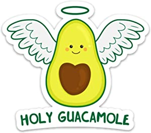"Stickeroonie Holy Guacamole Vinyl Sticker, Cute & Funny Water Resistant Avocado Sticker, 4"" x 3"" Size"
