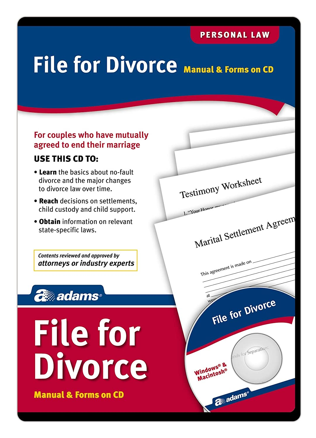 Amazon Com Adams File For Divorce Cd Manual And Forms On Cd