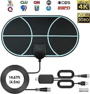 Antena de TV Interior, Max 120 millas/200 km Digital Freeview HDTV Aérea, DVB Radius señales de TV, VHF/UHF/FM, compatible con Smart TV HD 4K 1080P: Amazon.es: Electrónica