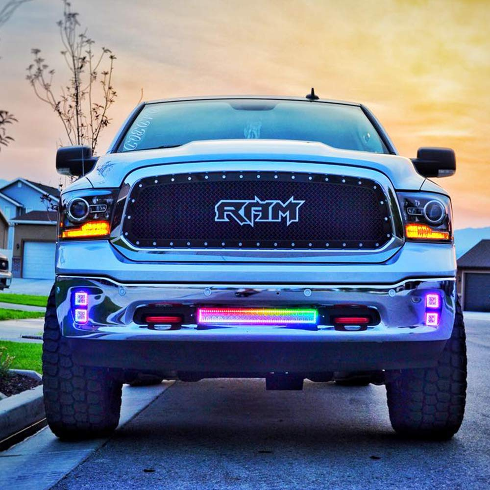 Nicoko offroad Driving 120w 20//22Inch straight LED light bars waterproof Multicolor RGB halo Ring Kit Strip set mounting Brackets dodge ram Wrangler Atv Truck toyota Boat Free wiring harness Nicolight CR22120C
