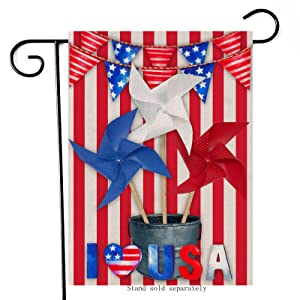 Artofy I Love USA Decorative Garden Flag, House Yard American July 4th Red Blue White Decor Star Stripes Paper Windmills Outdoor Small Burlap Flag Double Sided, Home Outside Patriotic Decoration 12x18
