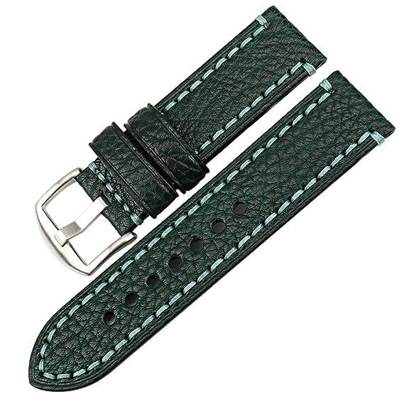 MAIKES Correa Reloj de Piel Replacement Reloj Banda 20 mm 22mm 24 mm 26mm Correa para Smartwatch para Hombre y Mujer
