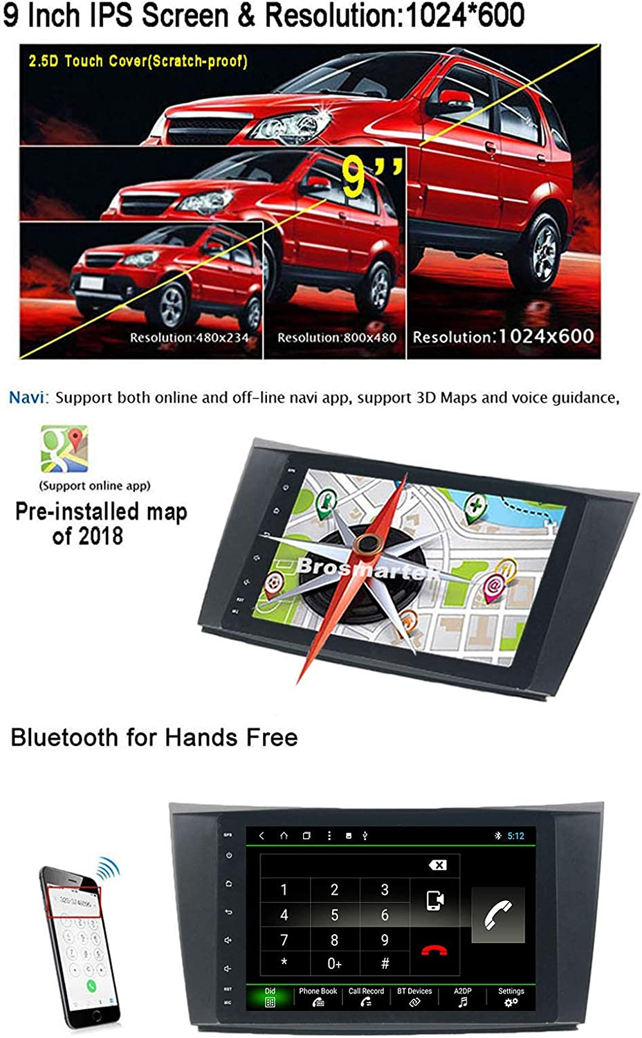 Brosmartek Android 8.1 Stereo 2G RAM Black Car Navigation 1S FastBoot//IPS Screen//Multi Window View