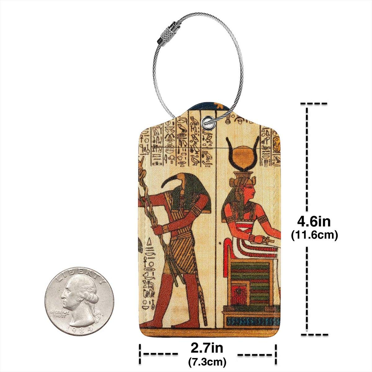 Ancient Egyptian Pharaoh Hieroglyphics Vintage Mural Egypt Luggage Tag Label Travel Bag Label With Privacy Cover Luggage Tag Leather Personalized Suitcase Tag Travel Accessories