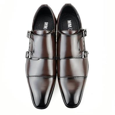 MMONE Mens Monkstrap oxford shoe Water repellent Plain toe Slipon Medallion Black Brown Dark Brown  B01BEU76NS