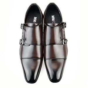 MM/ONE Mens Monkstrap Monk Strap shoes oxford shoes dress shoes Big size KingSize men Water repellent Straight Chip Shoes Dark Brown 48 EU (US Men's 13 M)