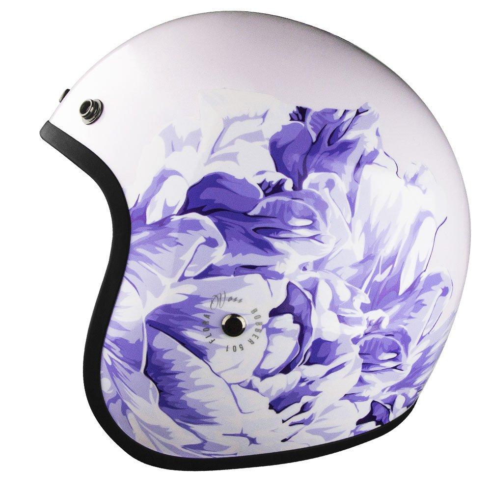 Lightweight Motorcycle Helmet >> Voss 501 Womens Bobber Helmet Open Face Low Profile Lightweight Motorcycle Helmet Dot Approved Lavender Flora M