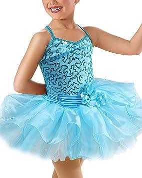 IBTOM CASTLE Maillot Vestido de Ballet Tutú Algodón con Lentejuelas Brillantes Actuación con Braga Interior para