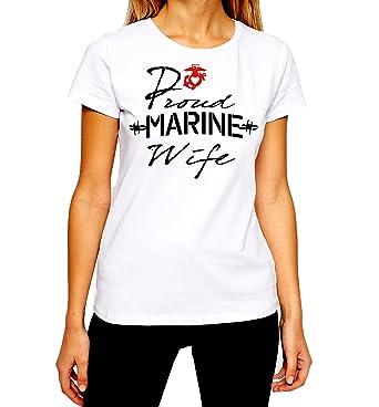 e9314d9e Amazon.com: USMC Wife T-Shirt US Marines Proud Wife Spouse Women Tee ...