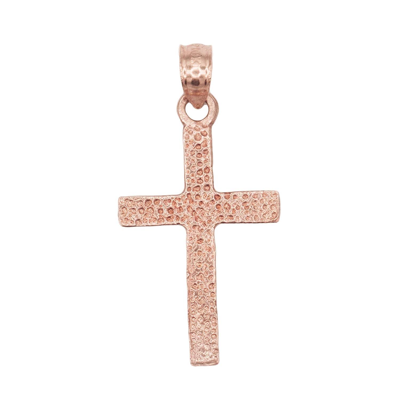 Ice on Fire Jewelry 10k Gold Dainty Cross Pendant