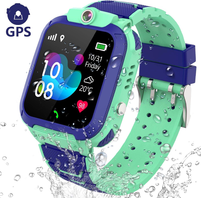 Kids Smart Watch GPS Tracker - IP67 Waterproof Smartwatch Phone for Kids HD Touch Screen SOS Call Voice Chat Digital Wrist Watch Alarm Clock Camera ...