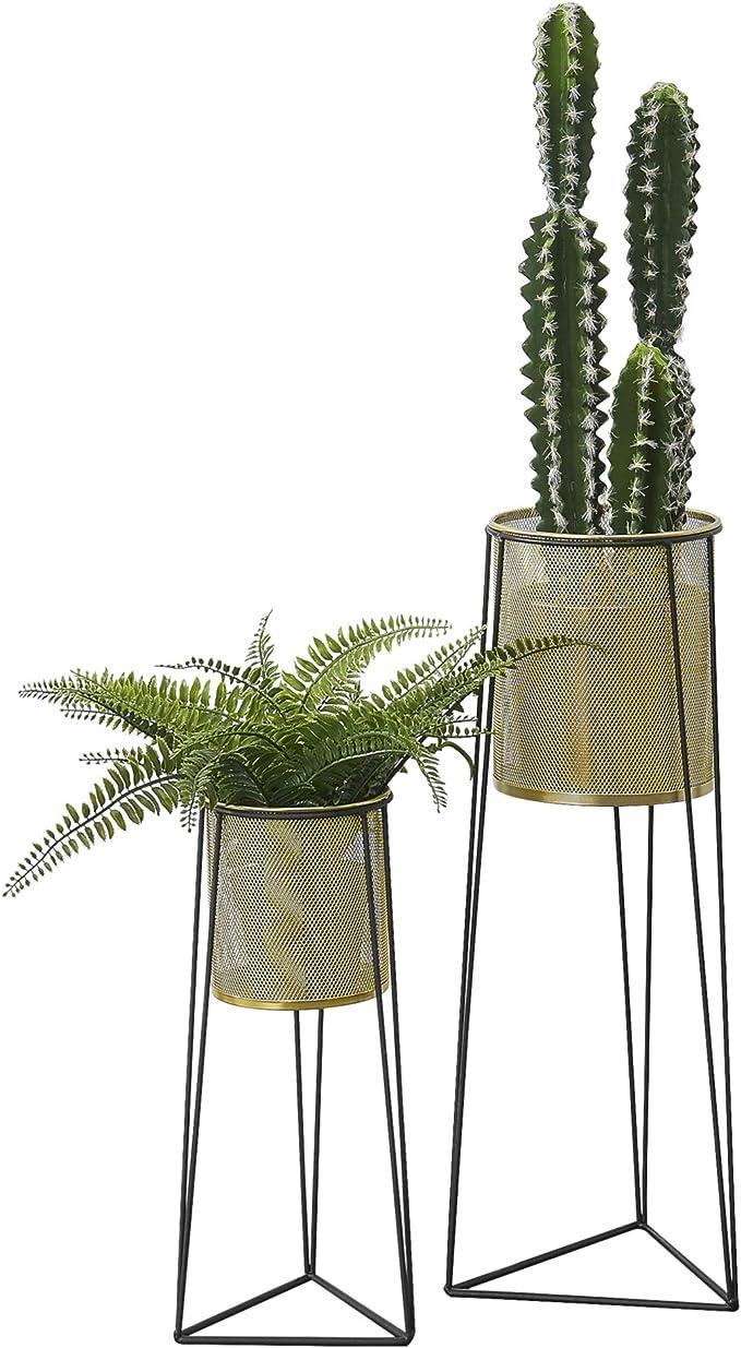 [en.casa] Flower Stand in a Set of 2 Metal Plant Pot Stand with Planter Flower Pot Holder 2-Piece Set Decorative plant pot in black brass.: Amazon.de: Küche & Haushalt