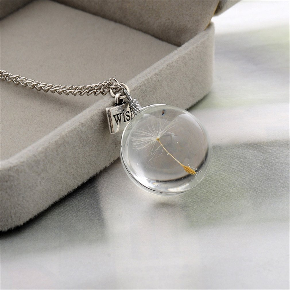 UNKE Dandelion Pendant Necklace with Real Dandelion Seed, Clear Glass Orb Dry Flower Wish Pendant Necklace Gift