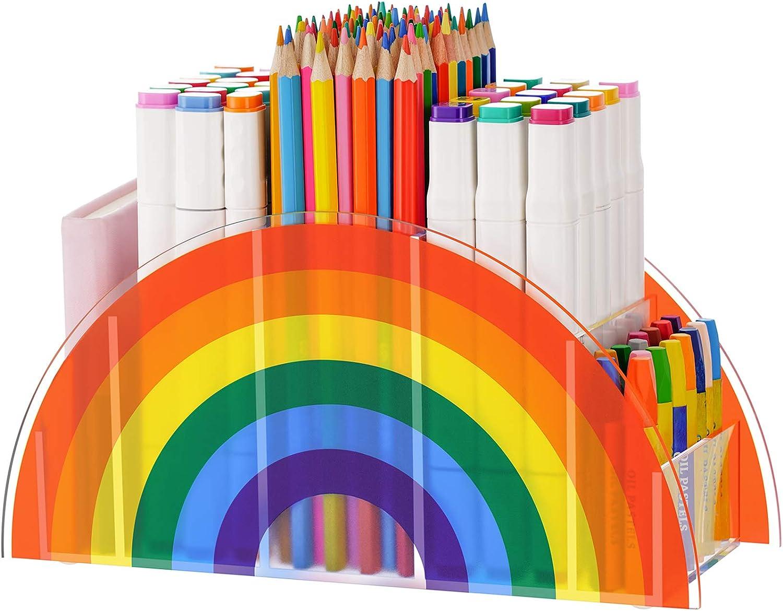 VITVITI Acrylic Pen Holder, Clear Desk Organizer, Pen Organizer for Desk, Cute 5 Compartments Pencil Holder, Desktop Stationery Organizer for Office Storage/School/Art Supplies/Home, Rainbow Colour