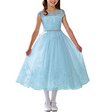 Amazon Girls Tulle Lace Cap Sleeve Prom Pageant Gown Mid Calf
