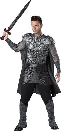 Fun World Men\u0027s Dark Medieval Knight Costume, Silver/Black,
