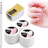 3 Colors Builder Gel, Saviland Nail Extension Gel Nail Strengthen UV Gel Nail Art Manicure Set with Nail Forms Tips Brush(8g/Box)