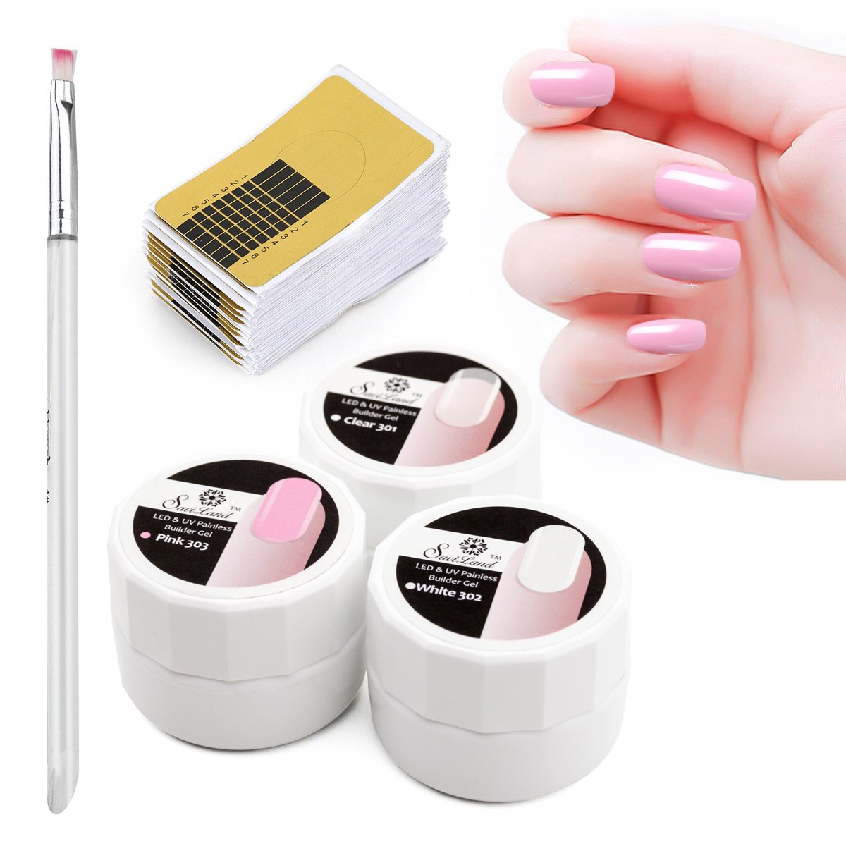 3 Colours Builder Gel, Saviland Nail Extension Gel Nail Form Sticker Brush Manicure Set Nail Art UV Gel Removable Painless Gel 8g