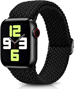ShunDee Adjustable Braided Solo Loop Sport Band Compatible with Apple Watch Bands 38mm 40mm 42mm 44mm Women Men, Soft Stretchable Elastics Strap for iWatch Series 3/6/5/SE/4/2/1 Replacement Wristband