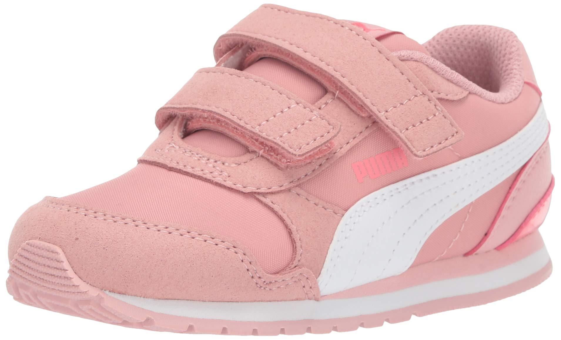 PUMA Unisex ST Runner Velcro Sneaker, Bridal Rose White-Calypso Coral, 13.5 M US Little Kid