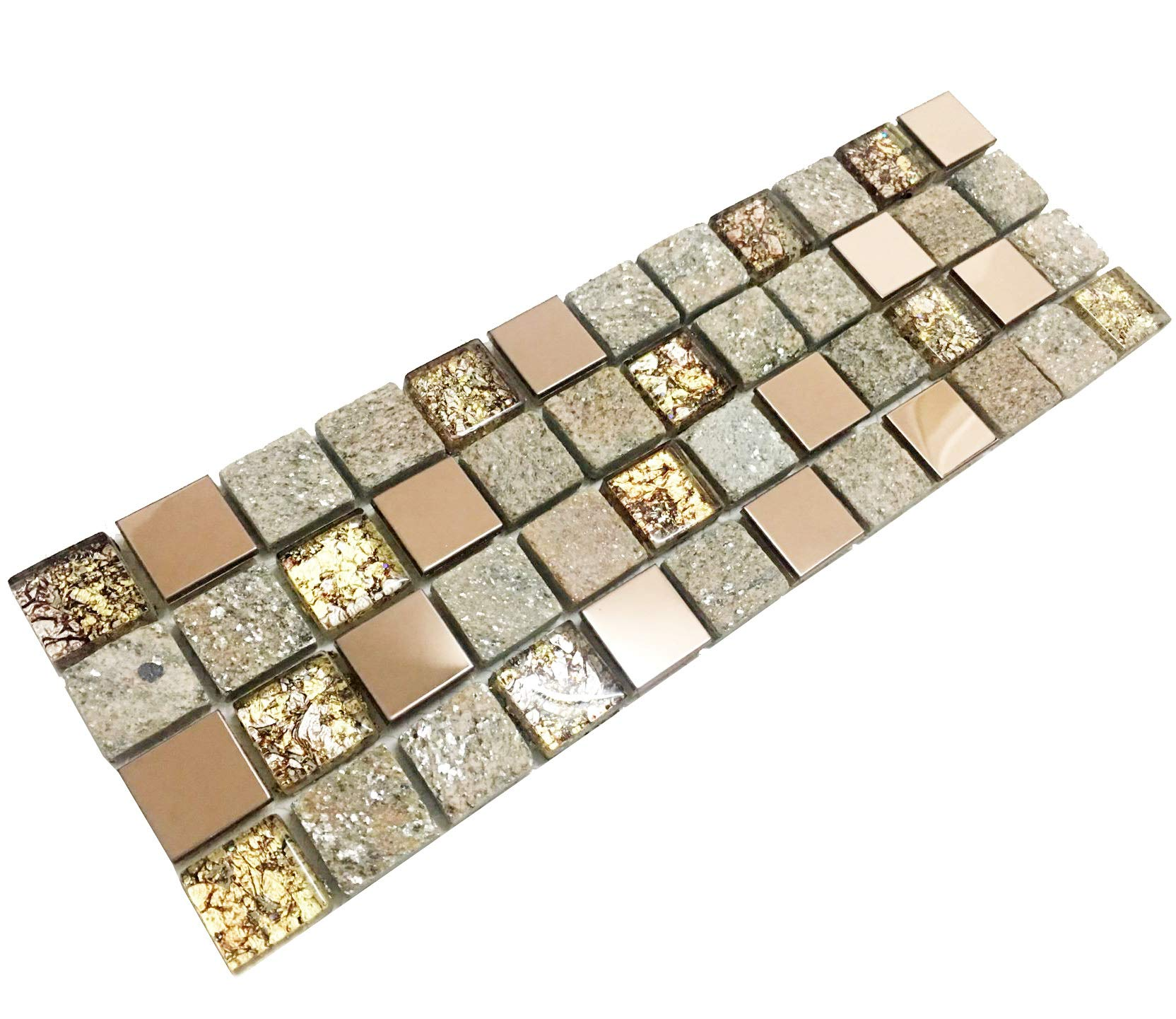 Hominter Tile Sample 3 x 12 Inches: Rose Gold Stainless Steel Tile, Glass Backsplash Tile for Kitchen and Bathroom, Gray Stone Mosaic Wall Tiles Ox022