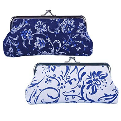 Oyachic 2 Packs Coin Purse Vintage Blue White Pouch Long Coin Pouch Women Wallet Kiss lock Cosmetic Bag Clasp Clutch