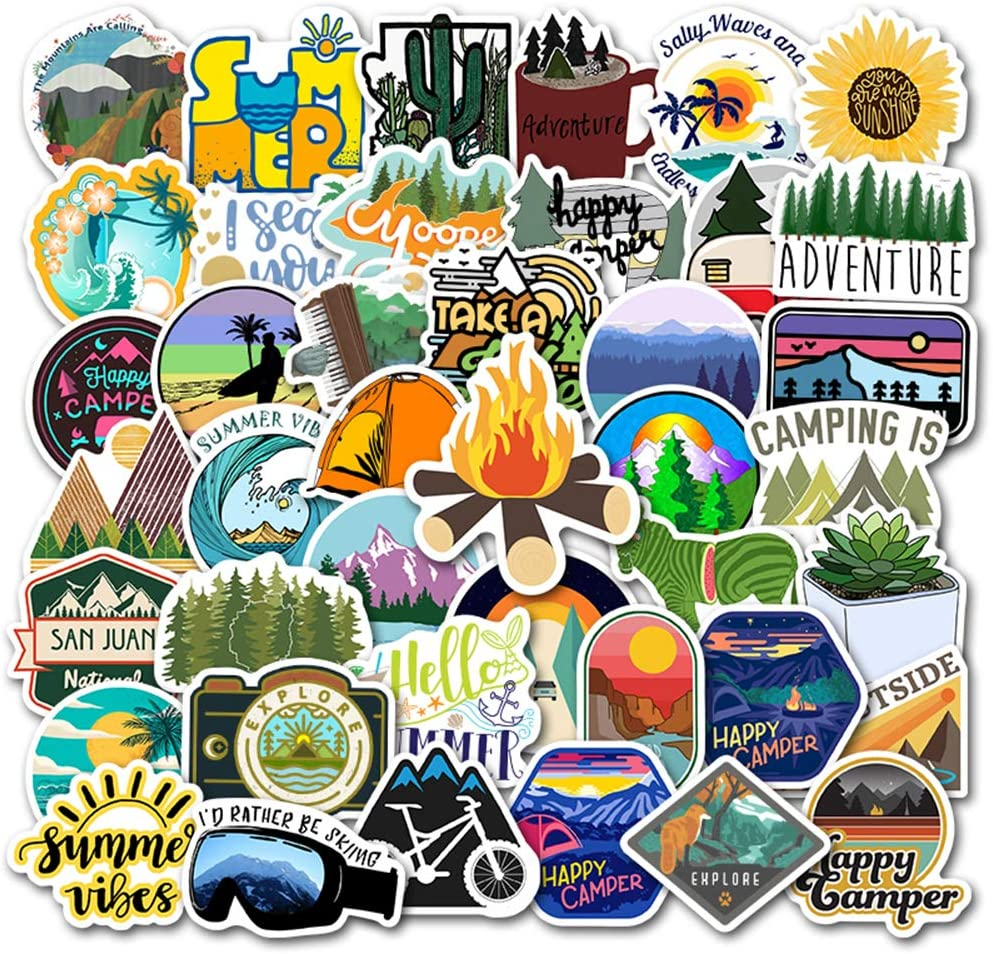 Adventure Cute Stickers for Water Bottles[50pcs] Outdoor Explore Hiking Camping Surfing Swim Climbing Diving Sticker for Laptop Bike Car Guitar Motorcycle Bumper Luggage Skateboard, Best Gift for Kids