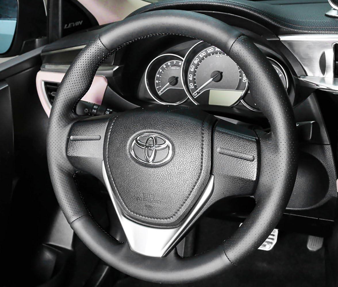 車のハンドルカバー ブラックレザーカバー 手縫い DIY ステッチカバー 2019 2020 Toyota RAV4用 ブラック fx21RA-P001