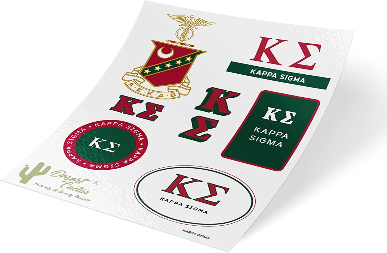Kappa Sigma Standard Sticker Sheet Decal Laptop Water Bottle Car Kappa Sig (Full Sheet - Standard)