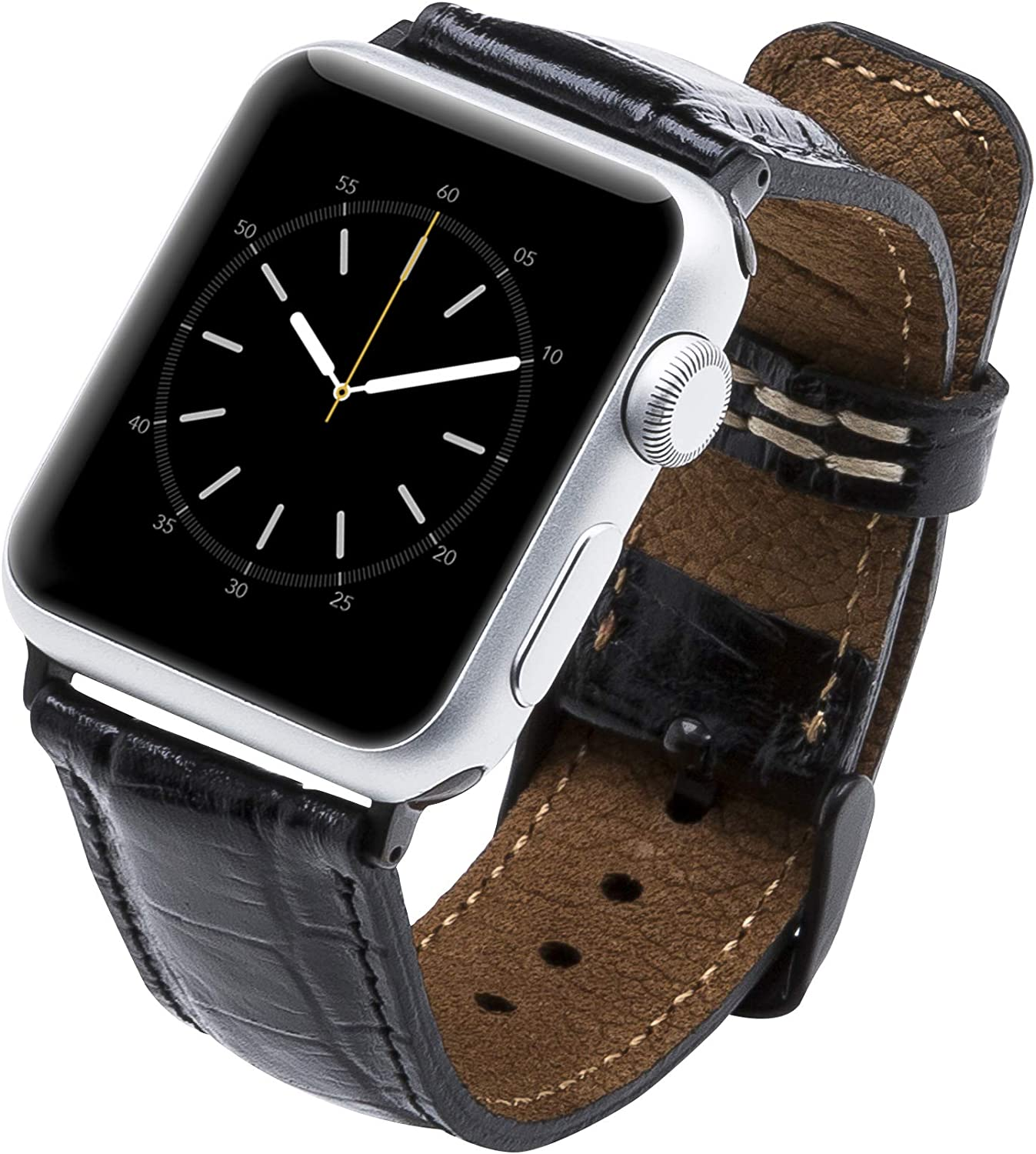 Venito Tuscany Leather Watch Band Compatible with Apple Watch 42mm 44mm - Watch Strap Designed for iwatch Series 1 2 3 4 5 6 (Black Crocodile w/Black Connector Clasp)
